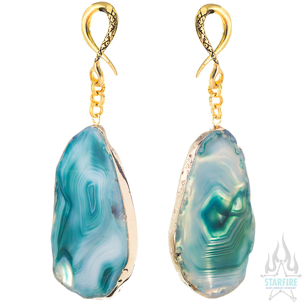Crossovers with Gold Plated Sliced Dyed Agate