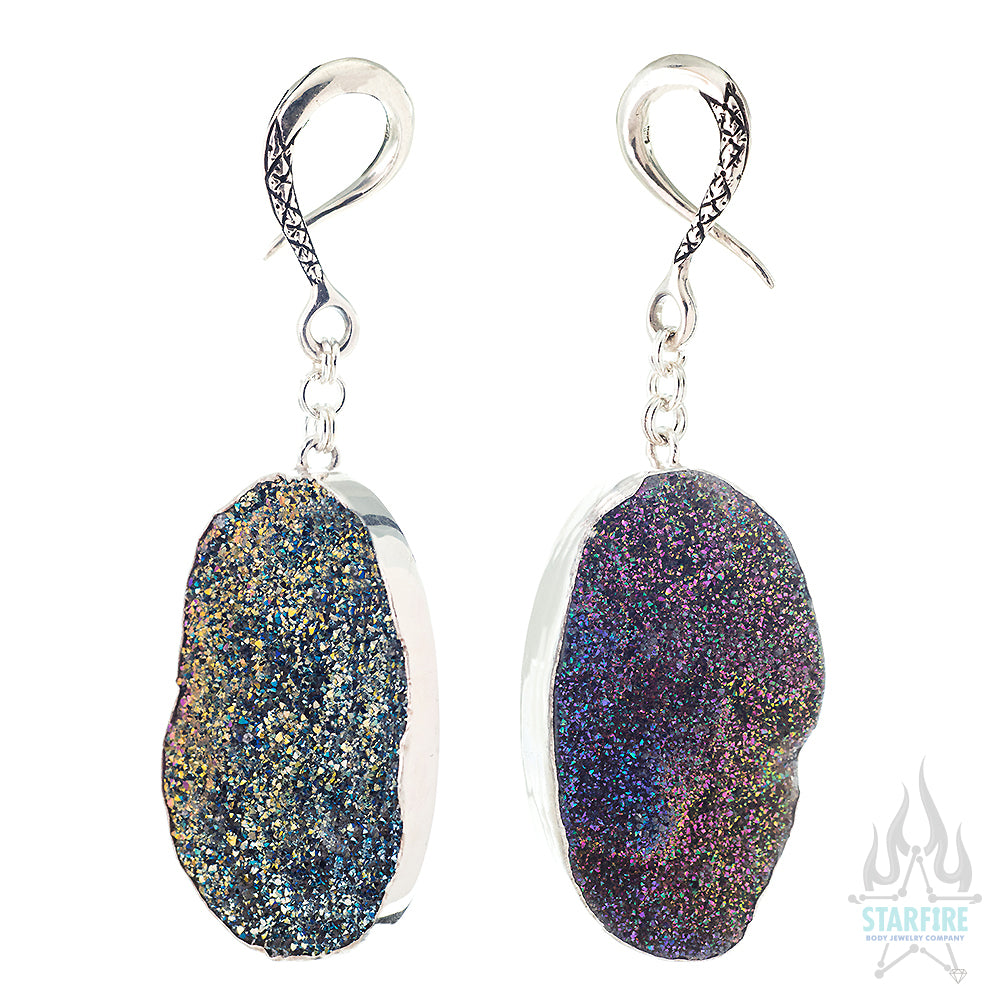 Crossovers in Silver with Titanium Coated Druzy Agate