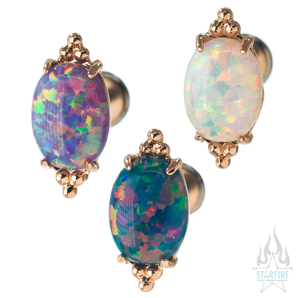 """FaraTa"" in Gold with Oval Opal Cabochon - on flatback"