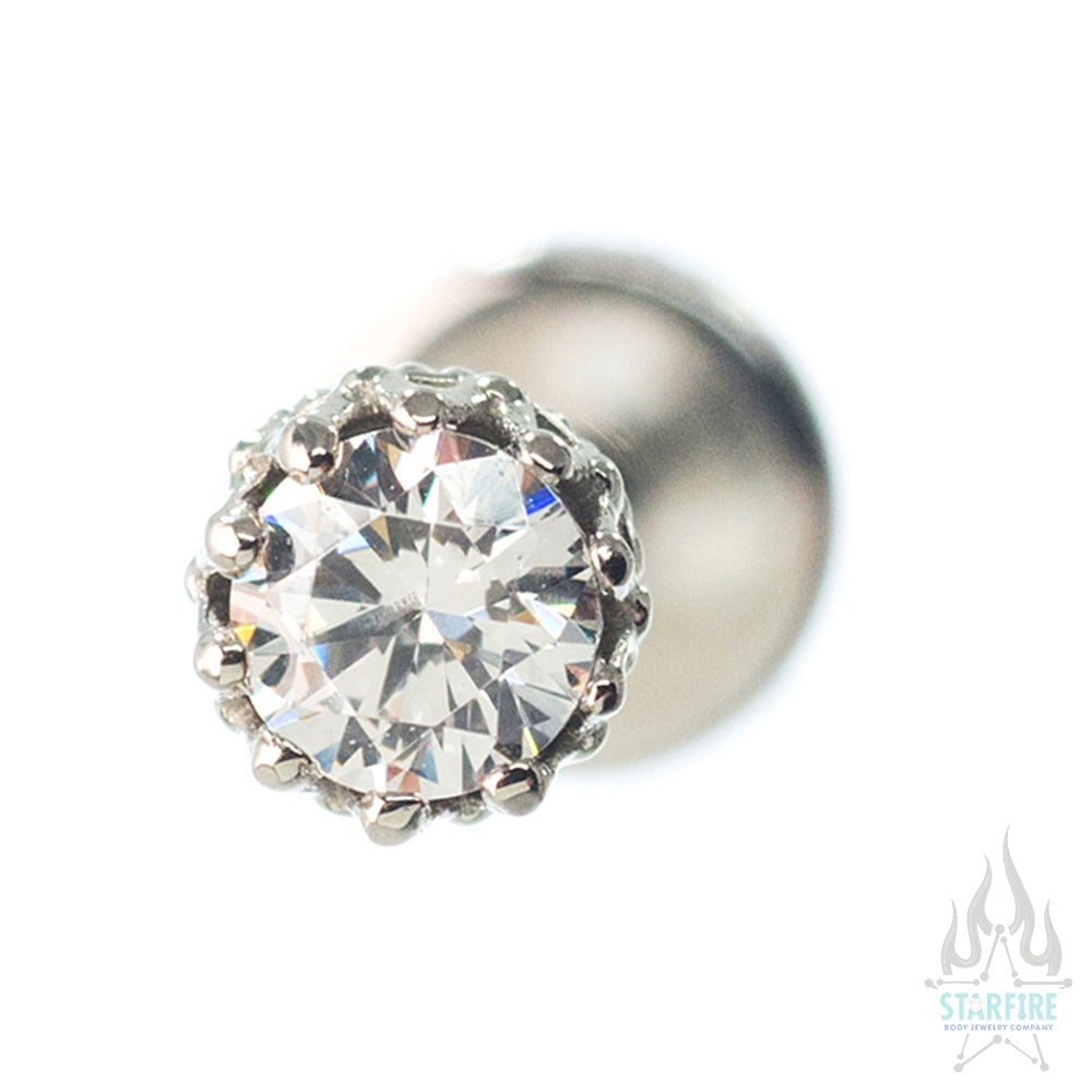 "3mm ""King"" Crown in White Gold with Brilliant-Cut Gem - on flatback"