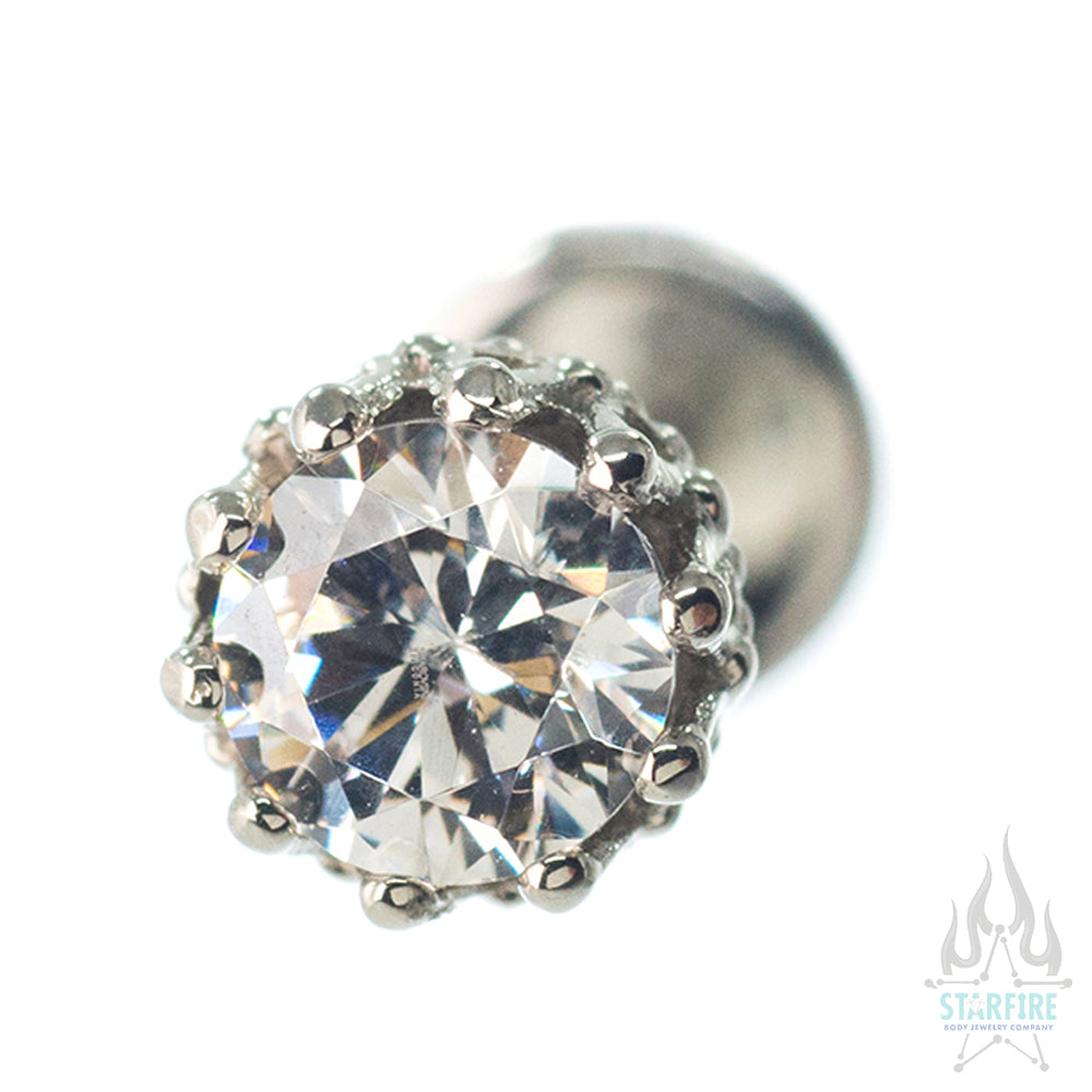 "4mm ""King"" Crown in White Gold with Brilliant-Cut Gem - on flatback"