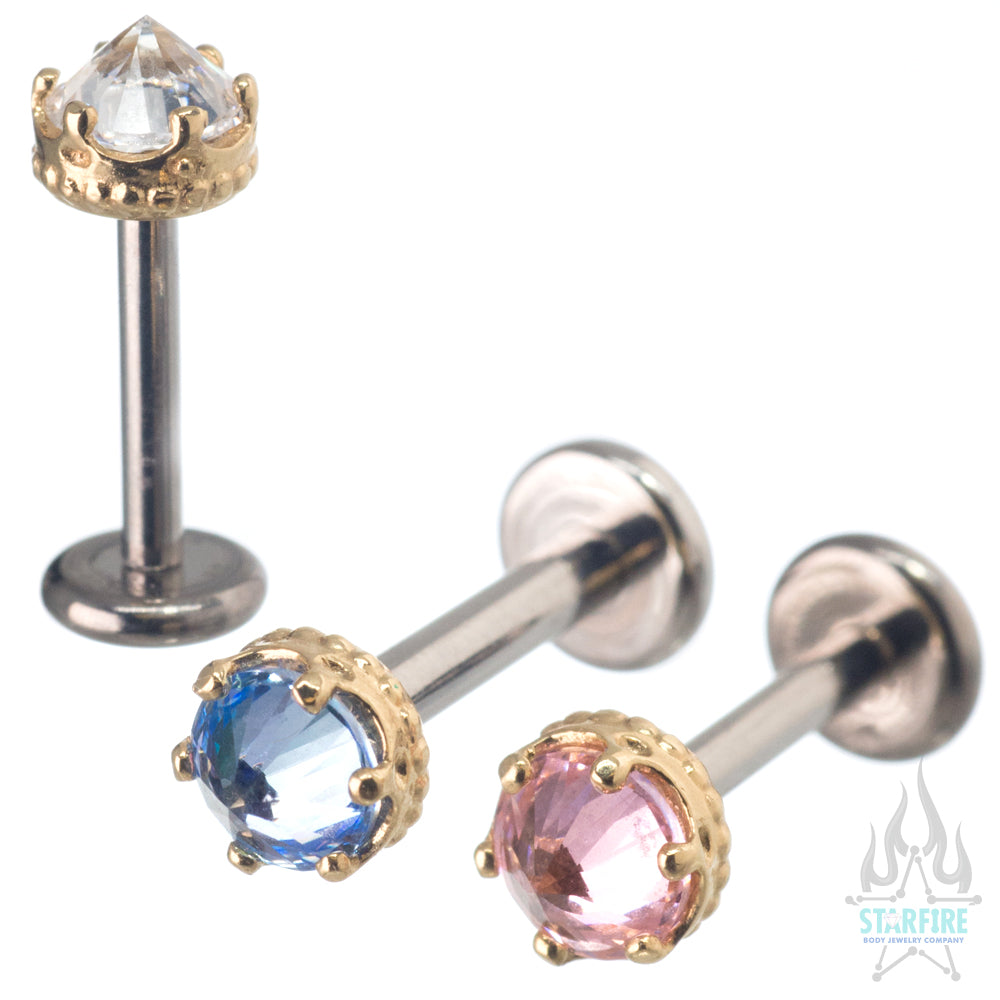 "4mm ""Queen"" Crown in Yellow Gold with Reverse-Set Brilliant-Cut Gem - on flatback"