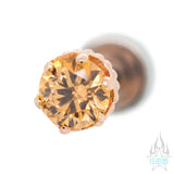 "4mm ""Queen"" Crown in Rose Gold with Brilliant-Cut Gem - on flatback"
