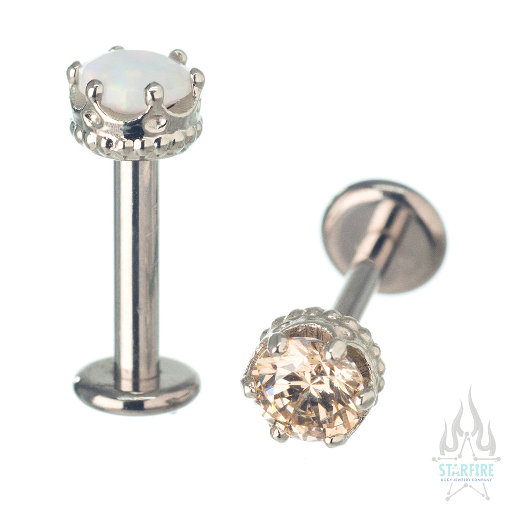 "4mm ""Queen"" Crown in White Gold with Brilliant-Cut Gem - on flatback"