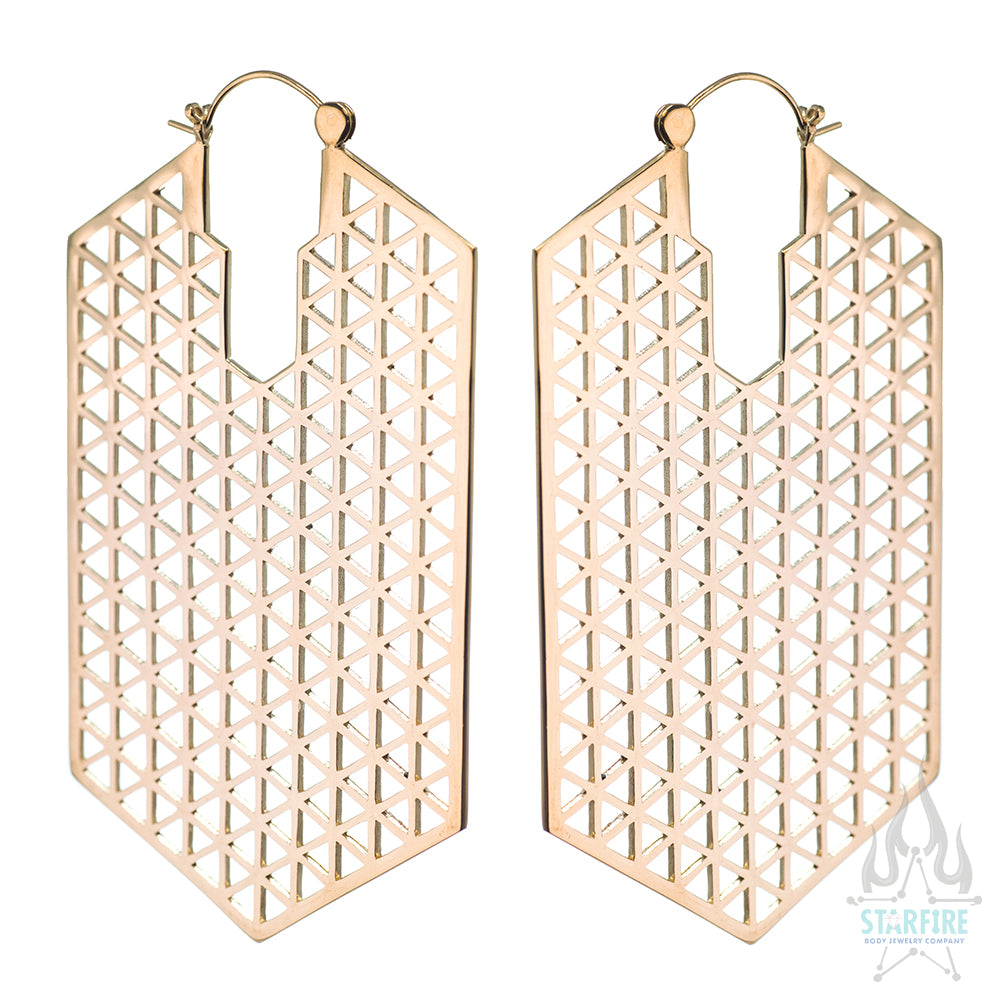 Hologram Earrings (large) - Yellow Gold