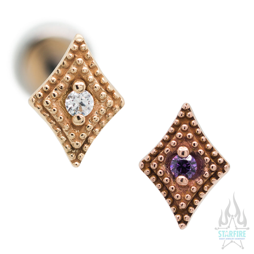 Double Diamond Millgrain in Gold with Faceted Gem - on flatback