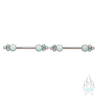 NB7TS 'Bijoux' Side Set Opal Nipple Barbells - pair