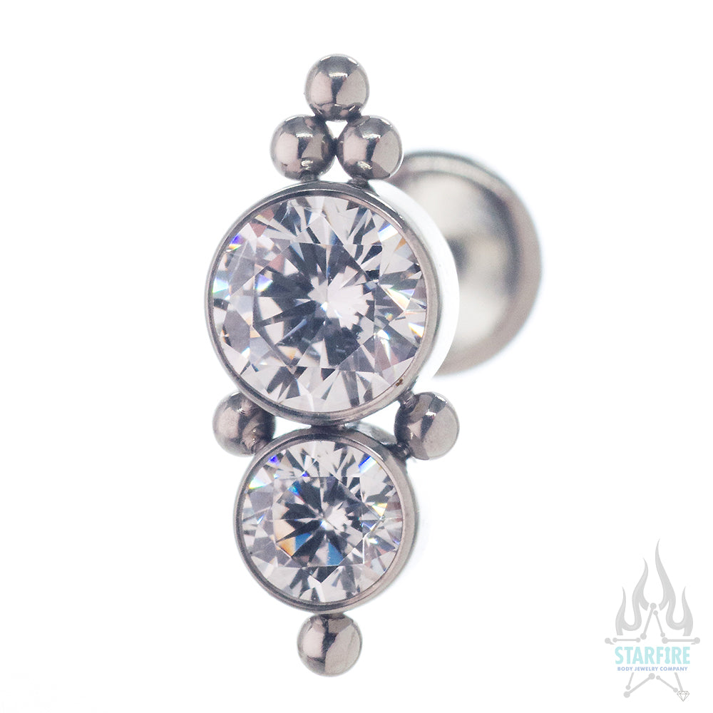 1HT-6A 'Haute Couture' Faceted Gem Bezel Cluster on Flatback