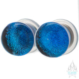 Foil Glass Plugs - Aqua on Black