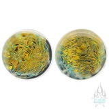 Foil Glass Plugs - Gold on Black