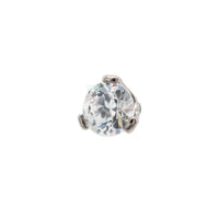 2.5mm 3 Prong-Set Round CZ Separate Threaded End