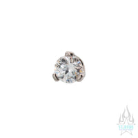 2mm 3 Prong-Set Round CZ Separate Threaded End