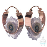 Mini Halo Earrings - Rose Gold + Amethyst