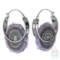 Mini Halo Earrings - White Gold + Amethyst