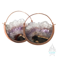 Mini Muse Earrings - Rose Gold + Amethyst Fluorite