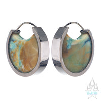 Mini Muse Earrings - White Gold + Blue Opalized Petrified Wood