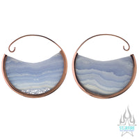 Muse Hoop Weights Large - Rose Gold + Blue Lace Agate