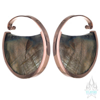 Muse Hoop Weights Large - Rose Gold + Labradorite
