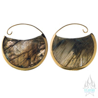 Muse Hoop Weights Large - Yellow Gold + Labradorite