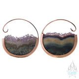 Muse Hoop Weights Medium - Rose Gold + Amethyst
