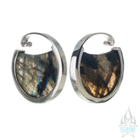Muse Hoop Weights Small - White Gold + Labradorite