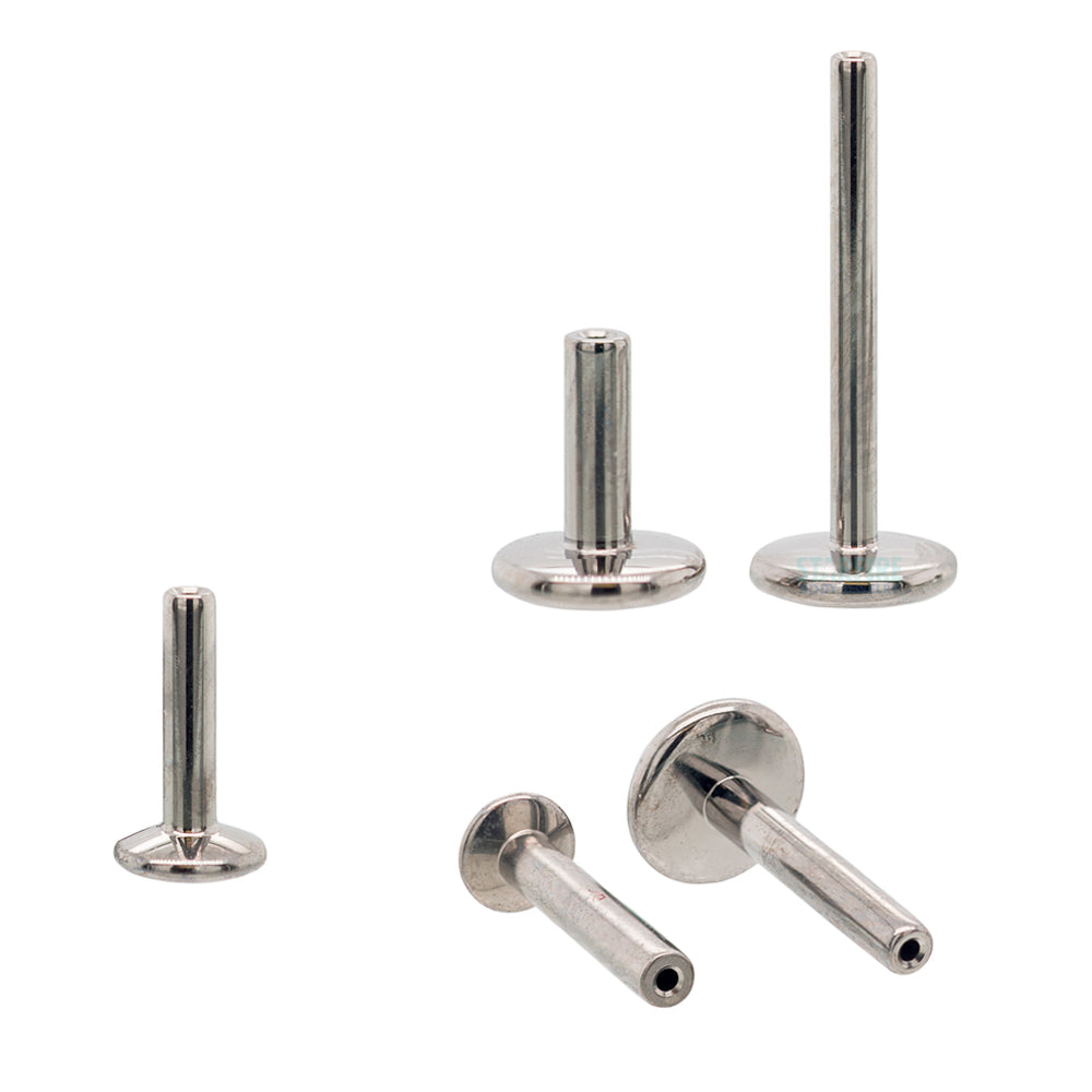threadless: Titanium Flatback / Labret Post / Straight Barbell End with Fixed Disk