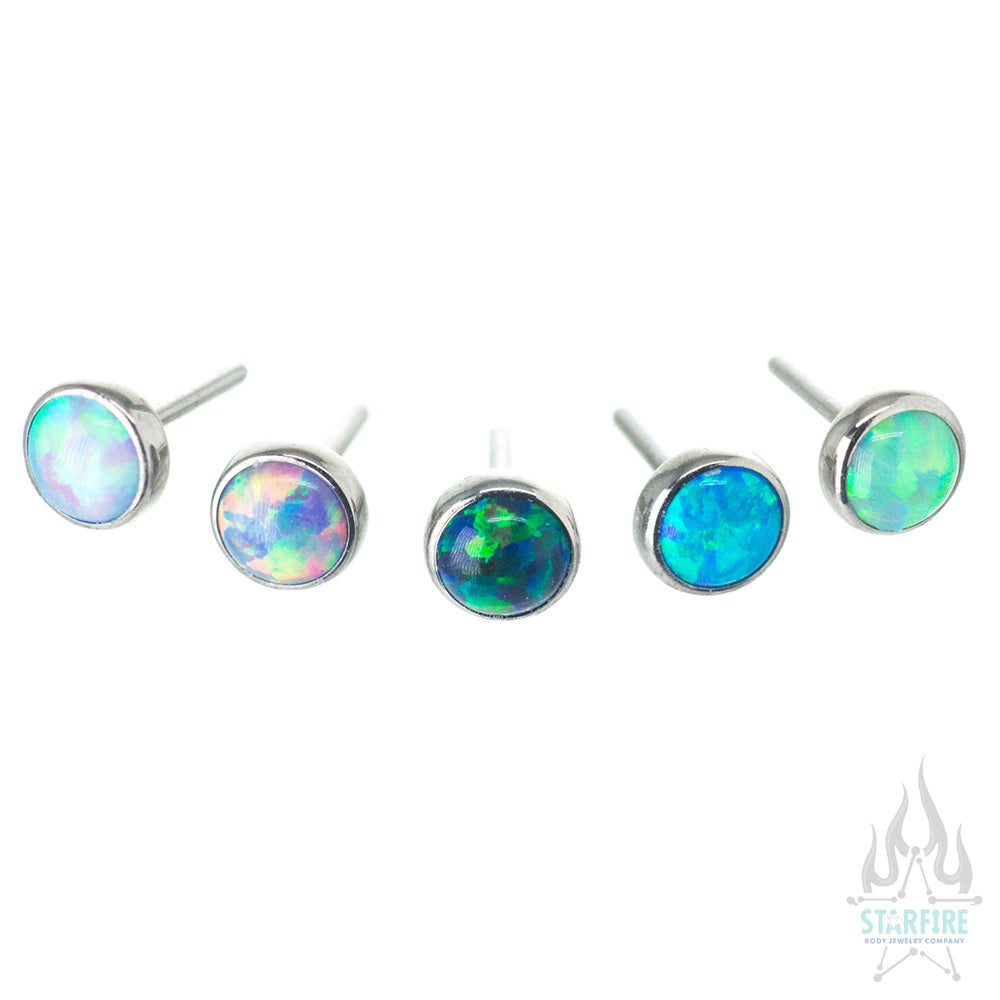 threadless: 2.5mm Bezel-Set Round Opal End