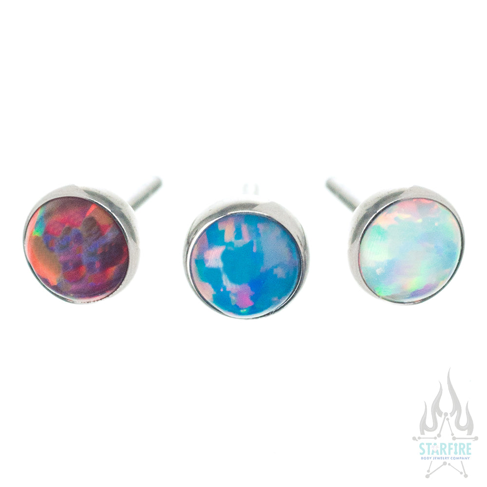 threadless: 3mm Bezel-Set Round Opal End