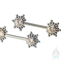 HC1T-34 'Haute Couture' Side-Set Faceted Gem Nipple Barbells - pair