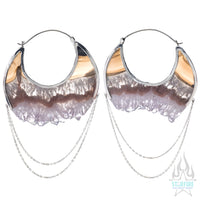 Moonstruck Earrings Large - White Gold + Crystal