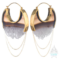 Moonstruck Earrings Large - Yellow Gold + Crystal