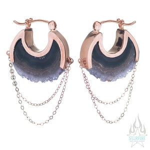 Moonstruck Earrings Small - Rose Gold + Crystal