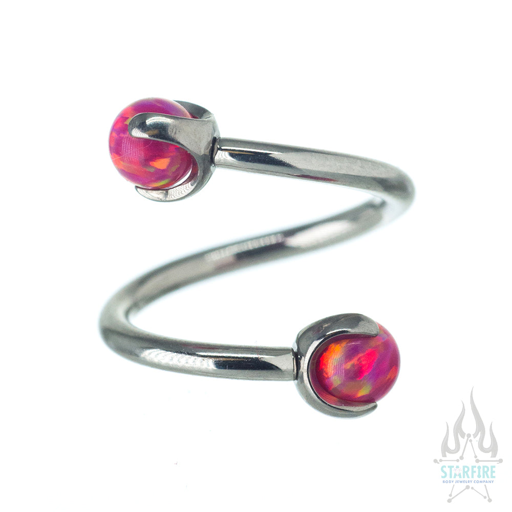 Spiral Barbell with Opal Balls in Prong's