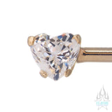 Side-Set Brilliant-Cut Heart Gem Industrial Barbell in Yellow Gold