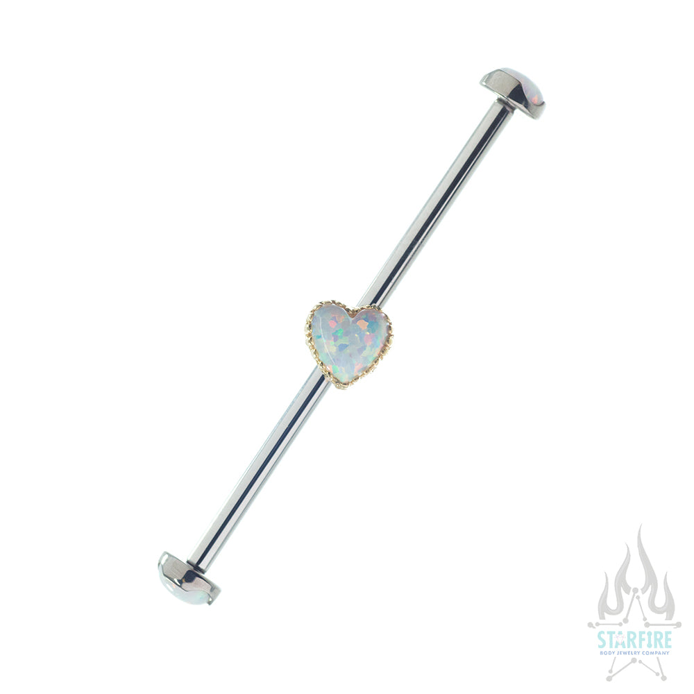Opal Heart Gem on Axis Industrial Barbell in Yellow Gold with matching Prong-Set Opal Ends - Left Ear