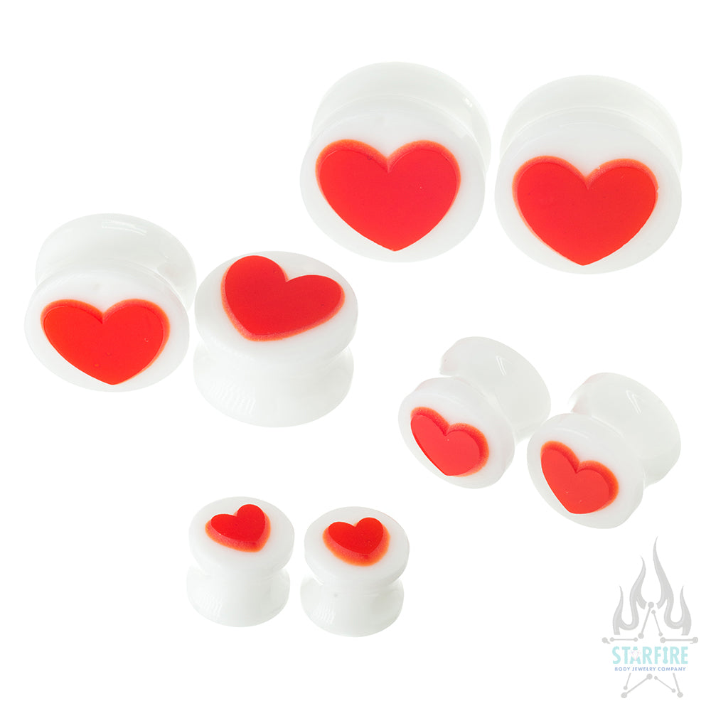 Heart Glass Plugs - Red on White