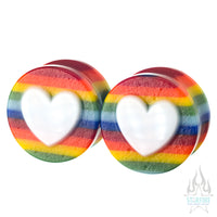 Heart Glass Plugs - Love is Love