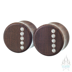 """Rider"" Wood Plugs with CZ Inlays"