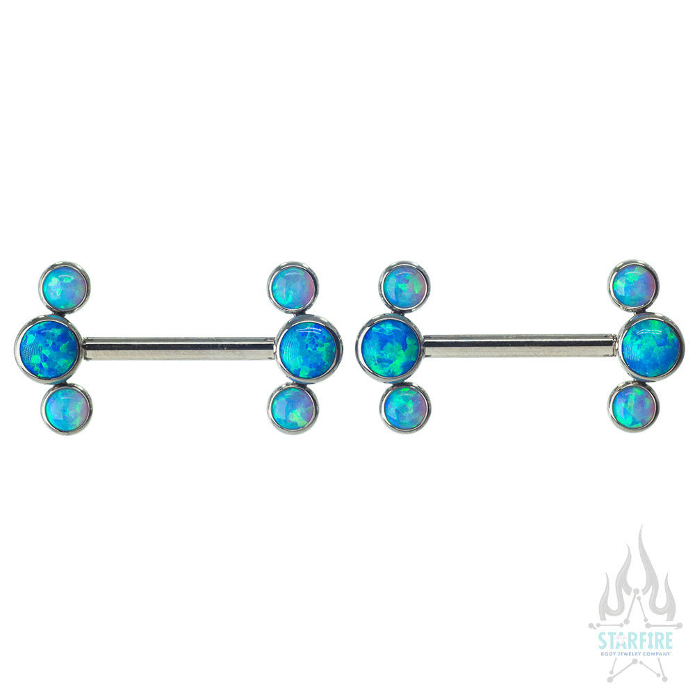 Opal Forward Facing Nipple Barbells with 3 Bezel Cluster - pair - custom color combos