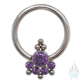 6HC-6 'Haute Couture' Faceted Gem Captive Bead Ring (CBR)