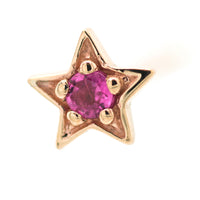 Concentric Star Nostril Screw in Gold with Pink Tourmaline