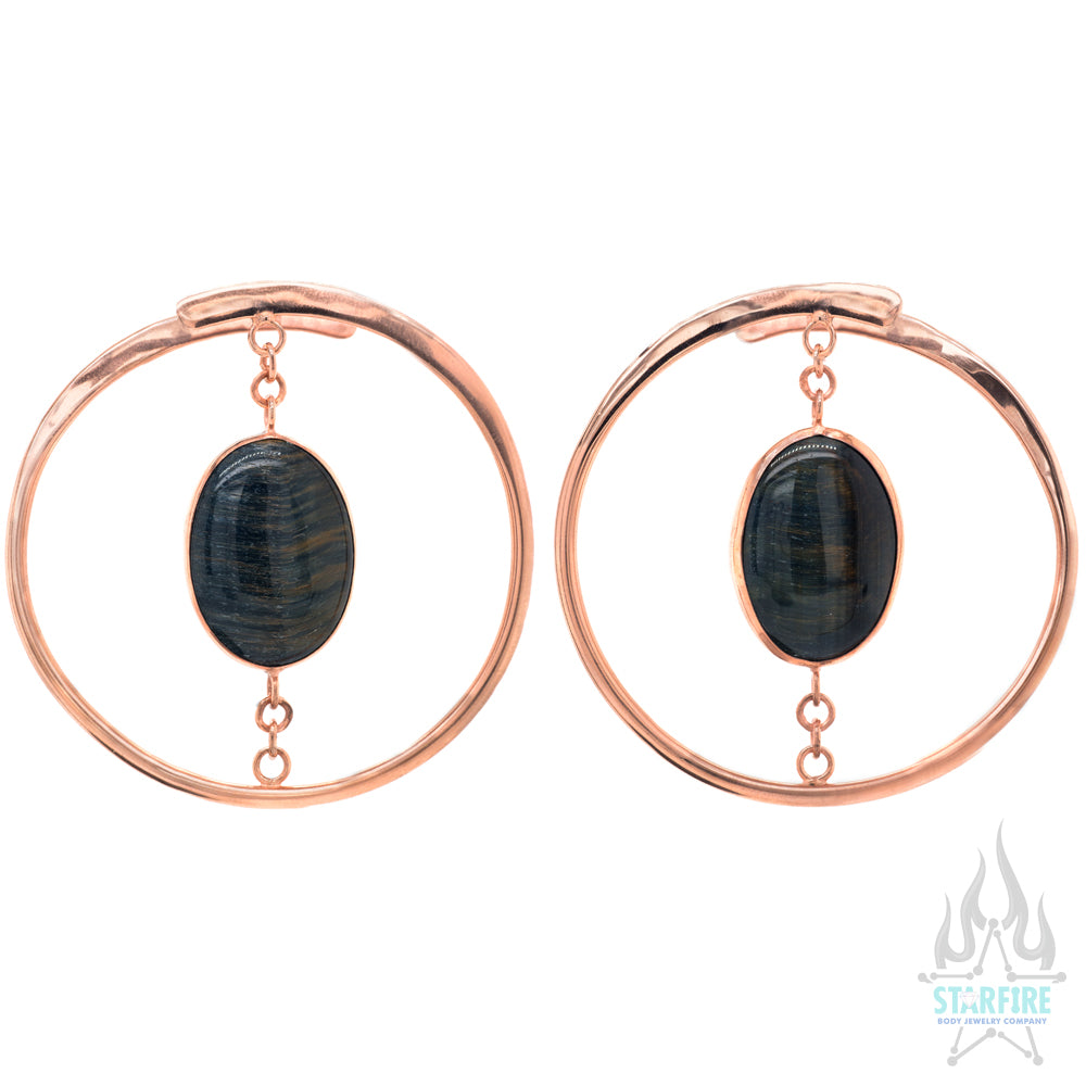 """Stay Sexy"" Earrings - Rose Gold + Suspended Blue Tiger's Eye"