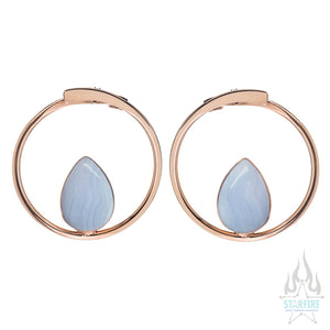 Stay Sexy Earrings - Rose Gold + Blue Lace Agate
