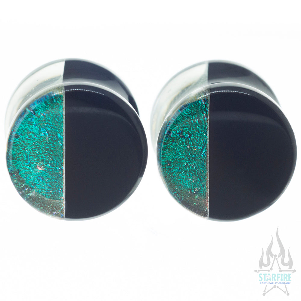 Hybrid Deluxe Dichroic Glass Plugs - Bright Green Blue