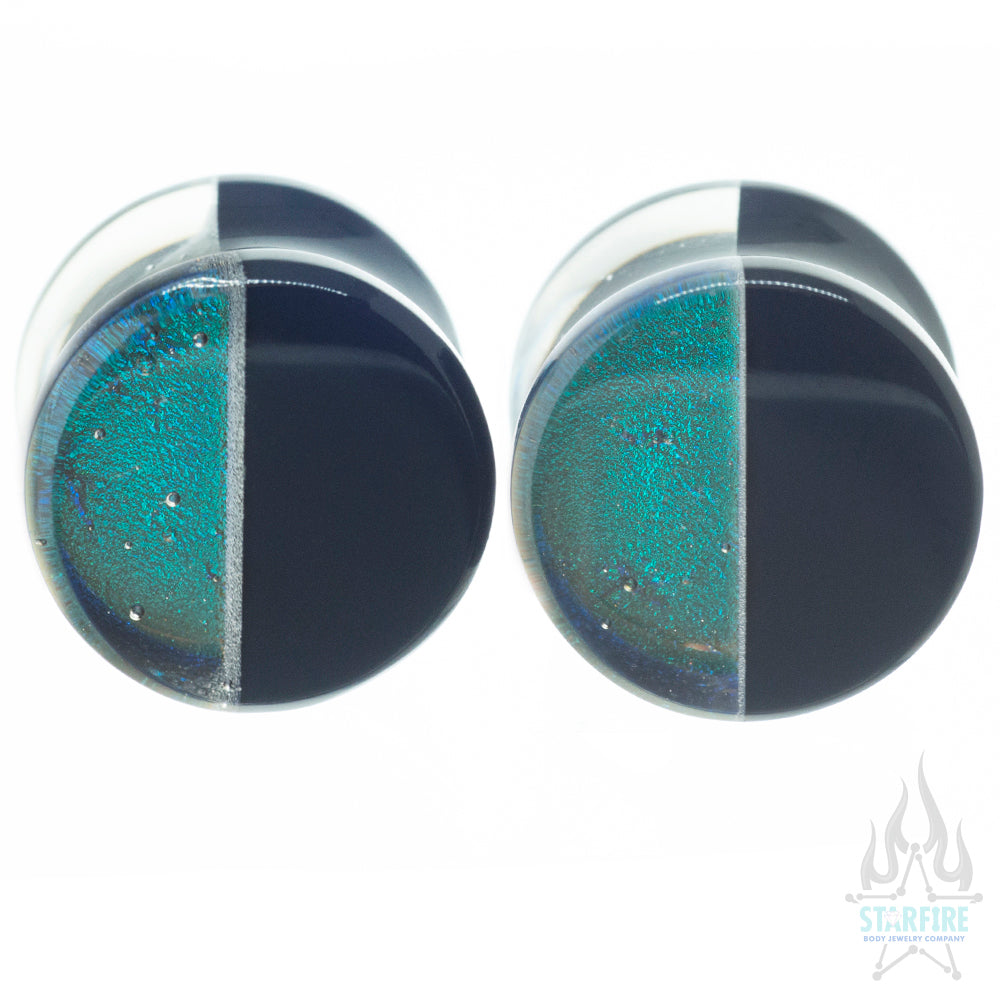 Hybrid Deluxe Dichroic Glass Plugs - Smoke Turquoise