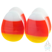 Candy Corn Glass Teardrop Plugs