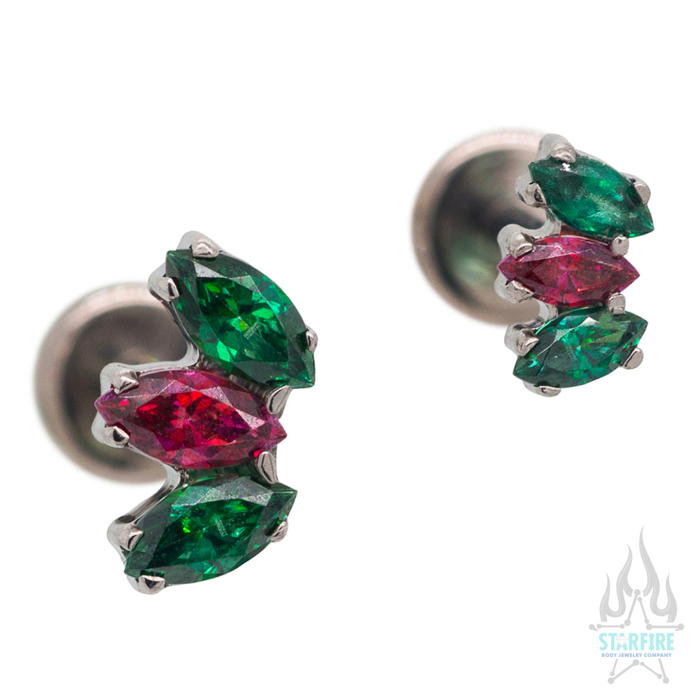 Marquise Fan with Faceted Gem on Flatback - Holiday Collection