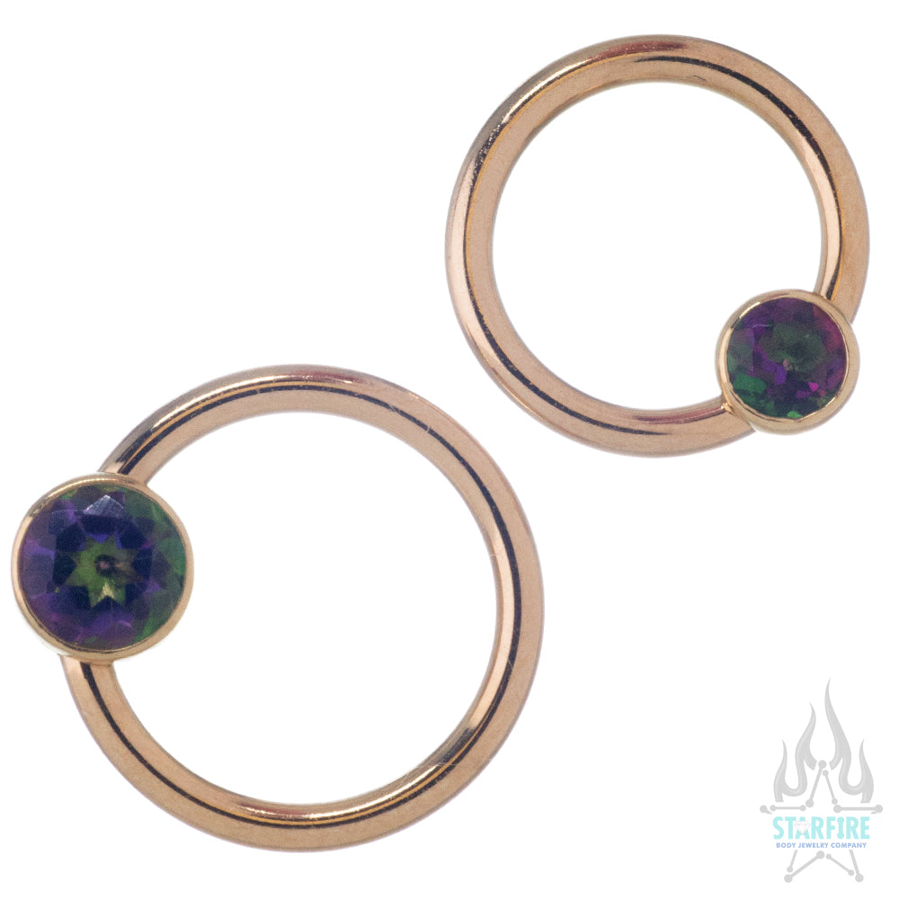Gold Captive Bead Ring (CBR) with Bezel-Set Mystic Topaz