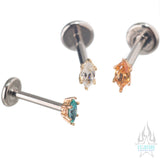 Prong-Set Marquise-Cut Brilliant Gem in Gold - on flatback