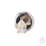 Prong-Set Pear-Cut Brilliant Gem in Gold - on flatback